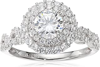 Sterling Silver Cubic Zirconia Round Frame Ring, Size 7