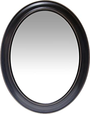 Infinity Instruments Sonore 30 inch Black Oval Wall Mirror | Decorative Frame with Beaded Accents | Great Mirror for Bathroom