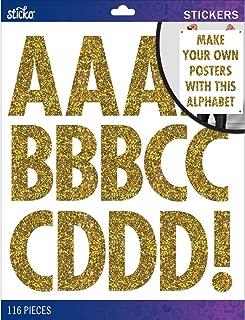 Sticko Alphabet Stickers, Regular X-Large, Gold Glitter Futura