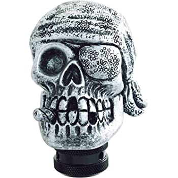 Lunsom Skull Stick Car Knob Pirate Theme Shifter Transmission Shift Stick Handle Shifting Head Fit Universal Automatic Manual Vehicle Red