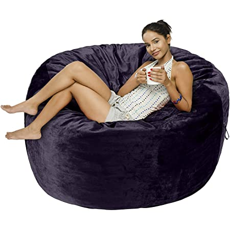 Amazon Basics Memory Foam Filled Bean Bag Chair with Microfiber Cover - 5', Blue