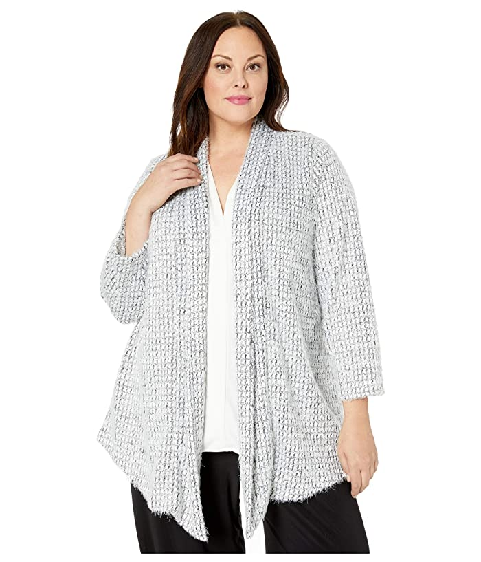 Vince Camuto Specialty Size  Plus Size Drapey Front Eyelash Houndtooth Cardigan (Rich Black) Womens Clothing