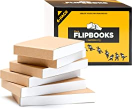 "Blank Flipbooks (Flip Book) for Animation, Sketching, and Cartoon Creation - 6 Pack, 4.5"" x 2.5"", 180 Pages (90 Sheets) :: Thick, No Bleed Drawing Paper with Sewn Binding : Fun, Creative Craft for Kid"
