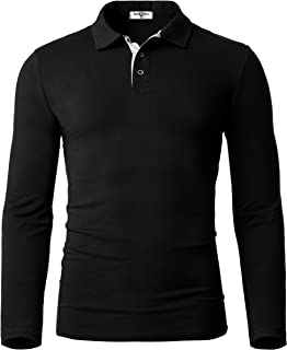 Men's Cotton Polo Shirts Slim Fit Soft Thermal Long Sleeve Golf T-Shirts
