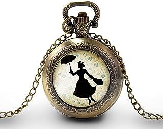 """Collana orologio da taschino - orologio da tasca, cabochon""""Mary poppins"""", Regalo di Natale - idea regalo - regalo moglie -..."""