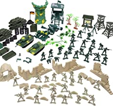 Flexzion Military Action Figures Playset, Army Men Toy Model Kit, Soldier Force Giftset, War Building Accessories Scene Gameset, Classic World War Battlefront Warrior Tank Set for Kids, Boys - 100 Pcs