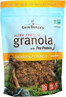 Erin Baker's Ultra Protein Granola, Endurance Crunch, Peanut Butter, Gluten-Free, Vegan, Non-GMO, Cereal, 12-ounce bags (P...