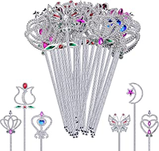 Skylety 24 Pieces Plastic Fairy Metallic Magic Dress-up Wand Princess Wands for Girl's Princess Costume Role Play