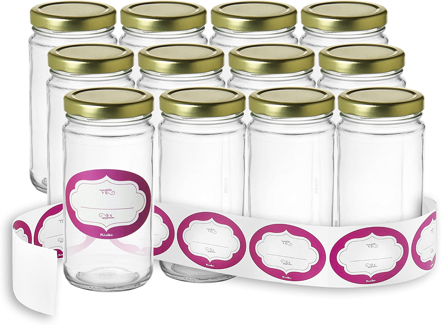 12 oz Glass Jars with Lids of -Pack Topics on TV Storage and 12- labels High quality new