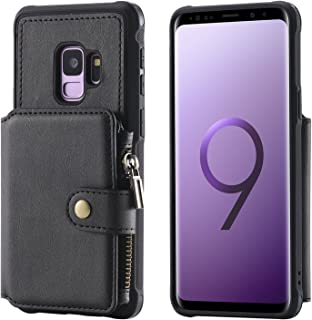 Samsung Galaxy S9 Wallet Case,Zipper Black Leather Card Cash Slot Large Capacity Protective Cover Durable Shell Kickstand Men Women