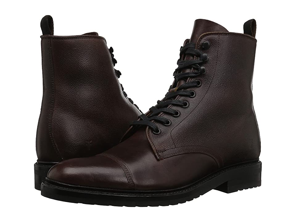 Frye Officer Lace-Up (Brown Smooth Pull Up/Scotch Grain) Men