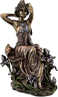 Top Collection French New Art Nouveau Reverie Statue - Hand Painted Collectible Beautiful Flower Lady Sculpture in Premium Cold Cast Bronze- 8-Inch Alphonse Mucha Collection