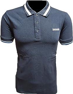 Lambretta Mens Single Tipped Collar Cotton Polo Shirt - Navy - S
