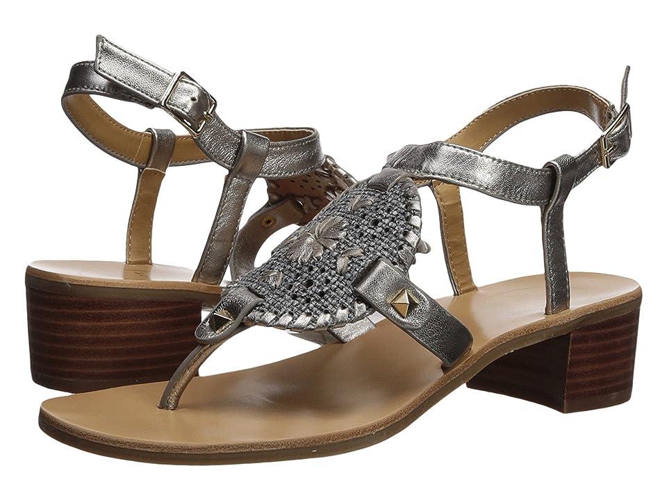 Jack Rogers Gretchen Heeled Sandal (Black Raffia/Pewter) High Heels