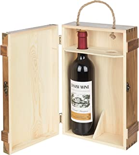 MyGift 2-Bottle Rustic Wood Wine Display Carrier, Storage Box with Rope Handle