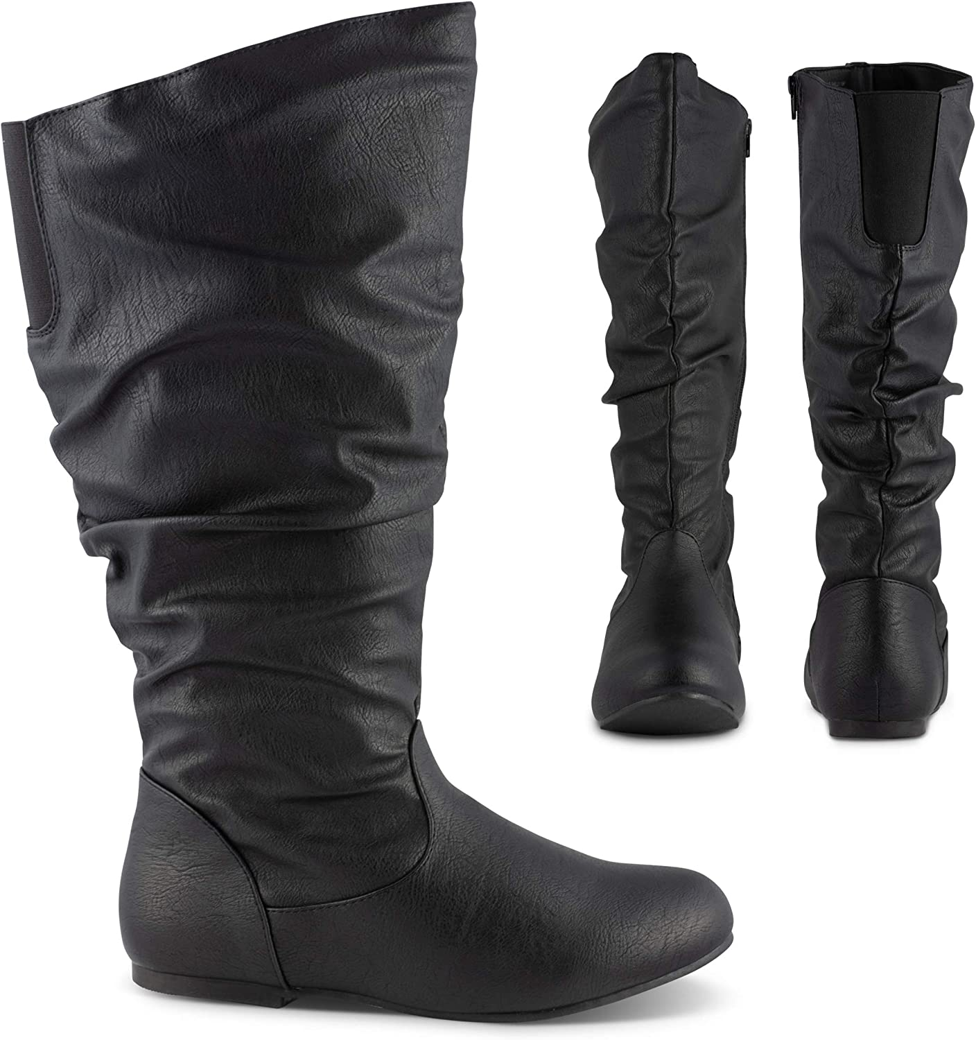 Twisted Shelly Women's Flat Knee High Slouch Riding Boots,