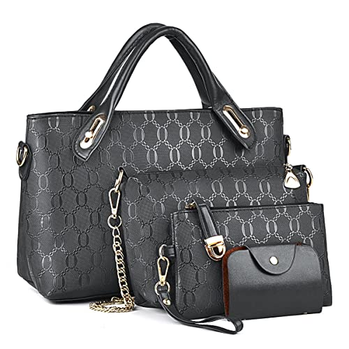 1b7362a5a9 Fashion Women PU Leather Handbag Shoulder Bag Tote Bag Purse Bags 4 Pcs Set