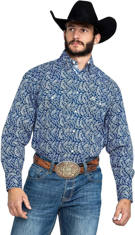 Wrangler Men's George Strait by Paisley Print Long Sleeve Western Shirt