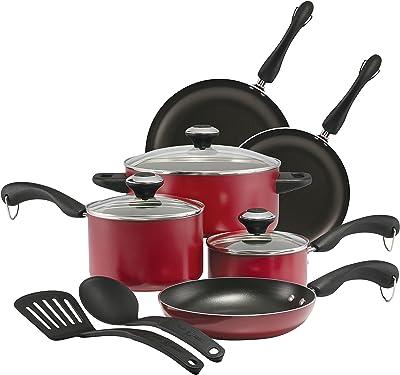 Paula Deen Signature Dishwasher Safe Nonstick Cookware Pots and Pans Set, 11 Piece, Red
