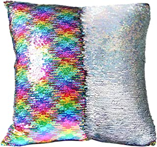 """URSKYTOUS Reversible Sequin Pillow Case Decorative Mermaid Pillow Cover Color Changing Cushion Throw Pillowcase 16"""" x 16"""",Rainbow and Silver"""