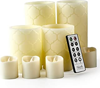 Furora LIGHTING LED Flameless Candles with Remote Control, Set of 8, Real Wax Battery Operated Pillars and Votives LED Candles with Flickering Flame and Timer Featured - Ivory Nordic Collection