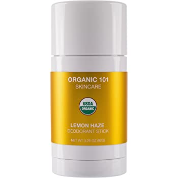 ORGANIC 101 Lemon Haze USDA Certified, All Natural, Extra-Strength Deodorant No Aluminum, Parabens, Other Toxic Chemicals, Stay Clean, Smell Fresh (3.25oz, Satin Gold)