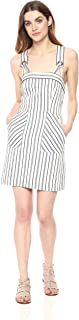 MILLY womens Cotton Linen Narrow Stripe Mini Apron Dress Casual Dress