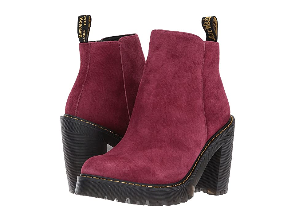 Dr. Martens Magdalena Ankle Zip Boot (Wine Soft Buck) Women