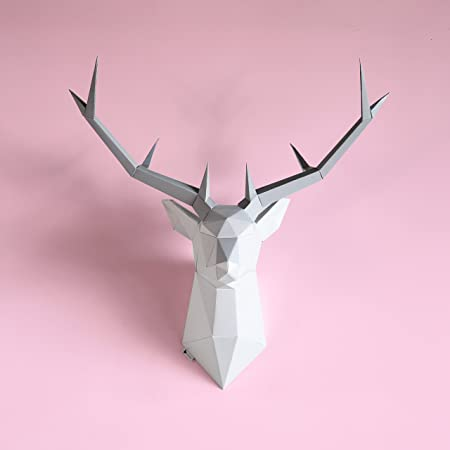 Brownfolds DIY Paper Wall Trophy, Origami Deer Head Wall Decor Art Piece, Pre-Cut and Scored Paper Templates