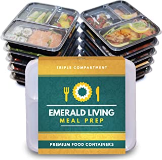 comprar comparacion Recipientes para comida preparada, con 3 compartimentos, sin bisfenol A Reutilizables, de plástico, con tapas. Apilables, ...