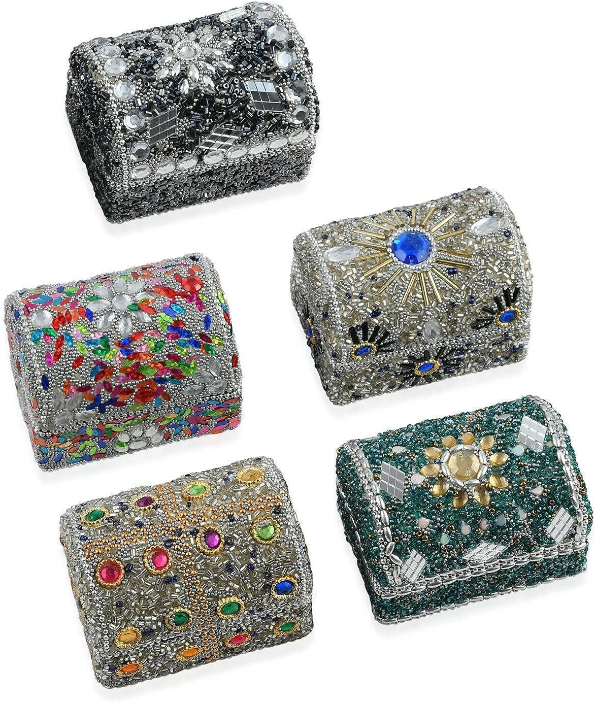 Multi Color Set of 5 Beaded Portable Jewelry Mini Save money Organize Chest Ranking TOP17