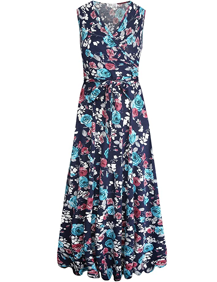Aphratti Women's Summer Casual Faux Wrap V Neck Floral Long Maxi Dress