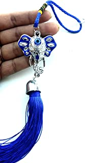 Ganesha Ganpati Bapa with Evil Eye (Accident Prevention) Wall Hanging Door Hanging Car Hanging for Prosperity Good Luck Perfect Housewarming Gift, Hindu Elephant God of Success Remove Obstacles.