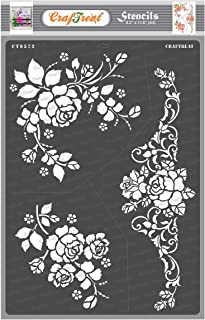 Craftreat Flower Stencil for Craft and Art - A Bouquet of Roses - Size A4 - Reusable DIY Stencils for Painting - Rose Flow...