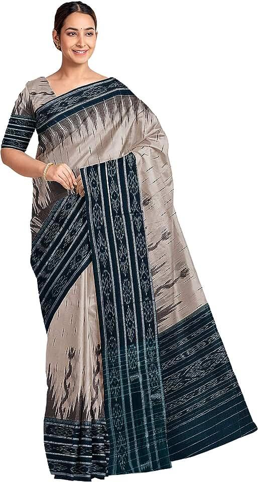 Indian NUAPATANAPATA Sambalpuri Certified Handloom Women's Cotton Saree (Multi-Coloured, BHS 04) Saree
