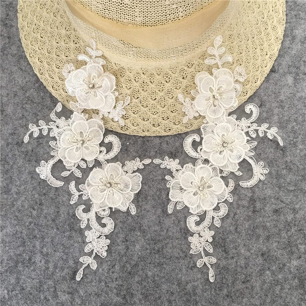 Polyester 3D Flower 100% quality Clearance SALE! Limited time! warranty Lace Collar Trimming Embroidery Pearl Abs fo
