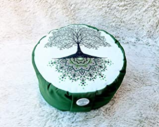 Zafu, cojín de meditación en tonos verde y blanco con mandala arbol de la vida verde diseñado por floresyabejas