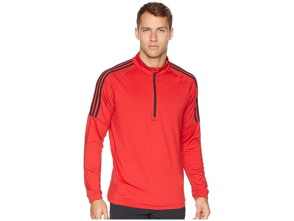 adidas Golf Classic 3-Stripes 1/4 Zip Pullover (Collegiate Red) Men
