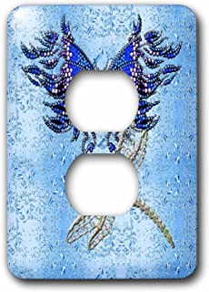 3dRose lsp_55916_6 Beaded Look Butterfly and Jeweled Dragon Fly Art 2 Plug Outlet Cover