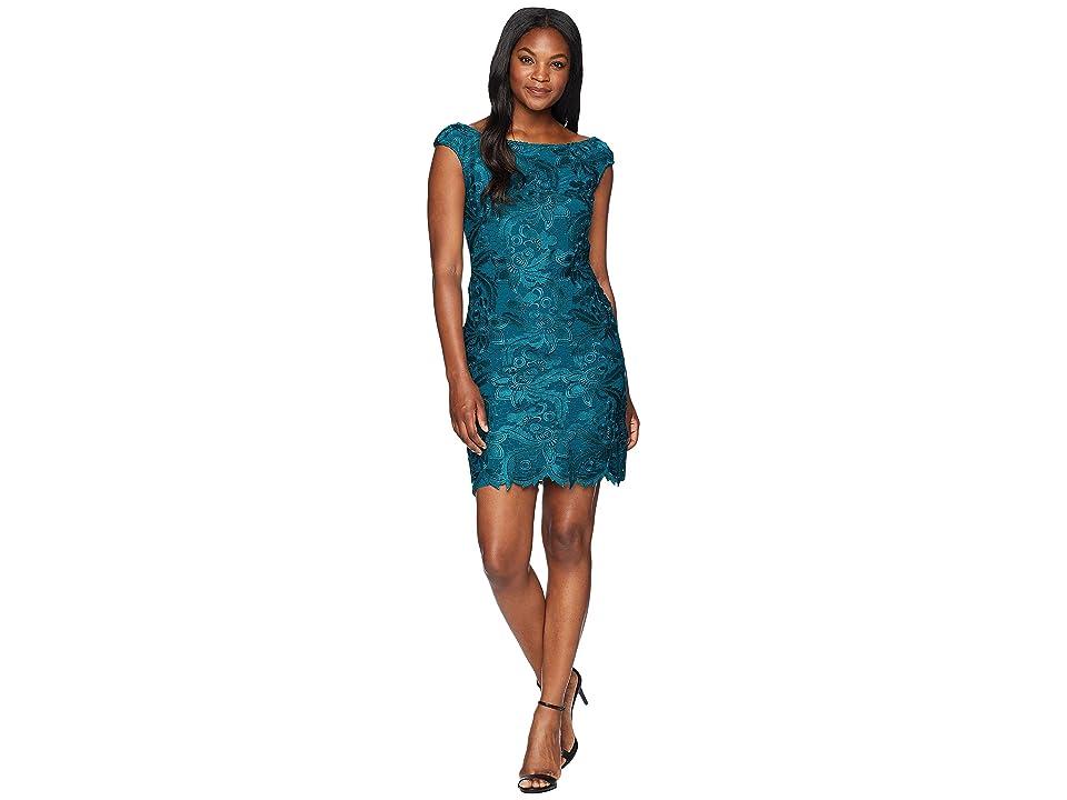 LAUREN Ralph Lauren Raydonna Cap Sleeve Day Dress (Teal) Women