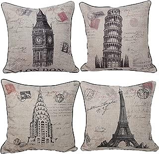 Queenie® - 4 Pcs Cotton Linen Pillow Case with Stamp Print Pillowcase Cushion Cover 45 X 45 Cm (18 X 18 Inch) (Bundle Set of 4)