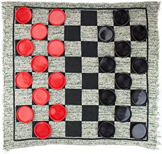 Brybelly Giant 3-in-1 Checkers and Mega Tic Tac Toe with Reversible Rug – Indoor/Outdoor Jumbo Board Games for Family Fun & Parties