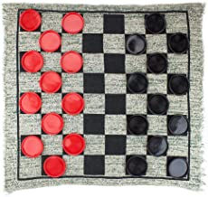 Giant 3-in-1 Checkers and Mega Tic Tac Toe with Reversible Rug – Indoor/Outdoor Jumbo Classic Board Games for Friends, Kid...