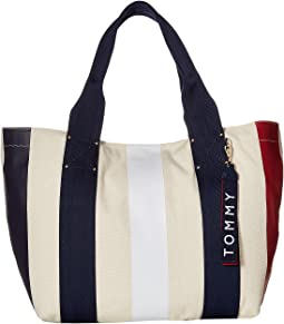 Classic Tommy Vertical Stripe Canvas Tote