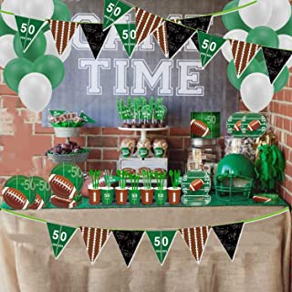 "Sport Game Day Party Supplies Kit,American Football Tableware Set,7"" Plates,9""Plates,Cups,Napkins Straws,Balloons,Cutlery,Football Touchdown Theme Party Flag Bunting Banner,Serves 16 Guests"