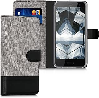 kwmobile Wallet Case for HTC U11 Life - Fabric and PU Leather Flip Cover with Card Slots and Stand - Grey/Black