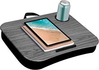 LapGear Cup Holder Lap Desk with Device Ledge - Gray Woodgrain - Fits up to 15.6 Inch Laptops - Style No. 46325