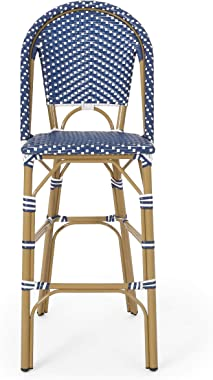 Christopher Knight Home 314451 Kinner Outdoor Barstool, Dark Teal + White + Bamboo Print Finish