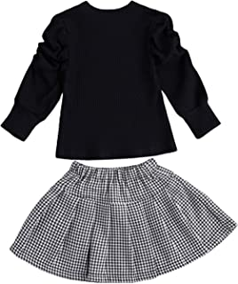 DELIMALI 2Pcs Toddler Kids Girls Outfit Suit Puff Long Sleeve Knitted Solid Color Top+Plaid Skirt Clothes Set