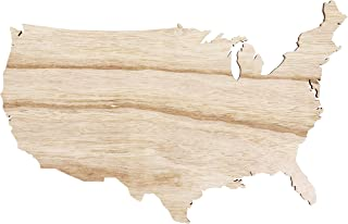 Genie Crafts 2-Pack Unfinished USA Wood Map Cutout Shape for Crafts and Decor, 15 x 9 Inches